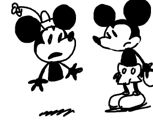 Minnie but half her body is missing