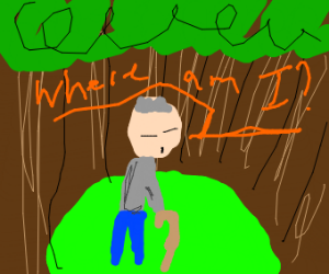 Old man walking in a forest