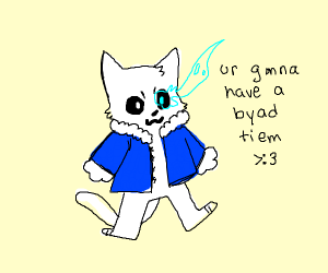 furry undertale character with blue eye