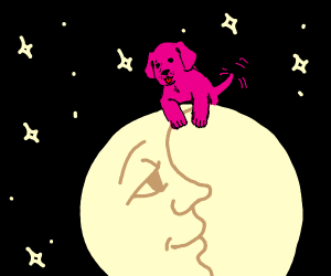 good pink doggo is best friends with moon