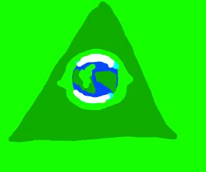 the Illuminati eye with the earth in it