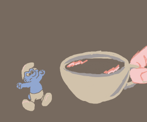 a tiny blue person wants tea