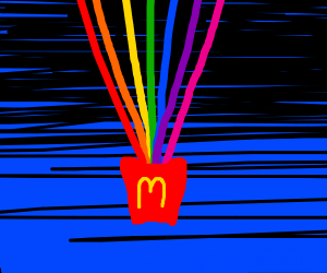 mcdonalds fry on shooting rainbows in space