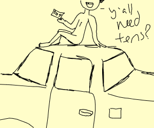 naked man on top of car yells yall need tens