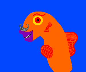 fish with purple lips and curly mustache