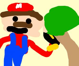 Mario puts bombo behind tree.