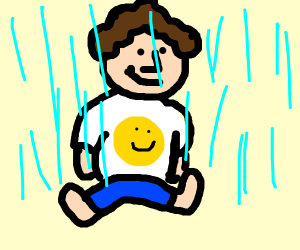 Sitting in the rain w/ a smiley face shirt