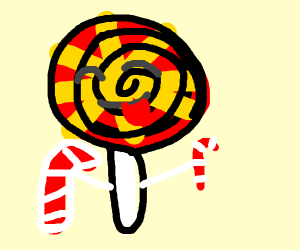 A lollipop addicted to candy canes