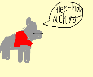Donkey in red sweater sneezing