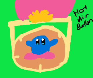 Blue Kirby in a hot balloon