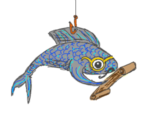 A fish on a string reads a scroll