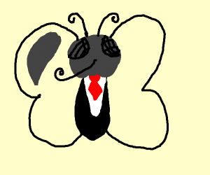 a butterfly as a waiter