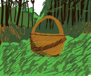 A forgotten basket in the forest