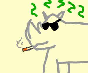 Kewl Rhino Smoking with Stink Lines