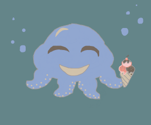 octopus eating icecream