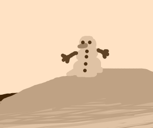 The snowman rests upon a hill.