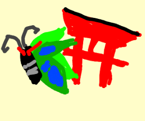 Angry butterfly flees from japanese gate