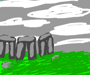 Ominous stonehenge over a field