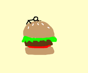 stickman cleaning a giant burger