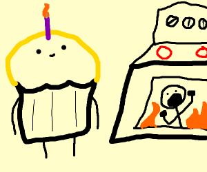 A cupcake baking a human