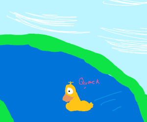 A single eyed duck crossing a river