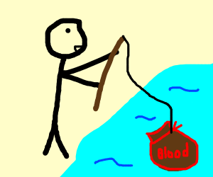 Stick figure fishing for sack of blood