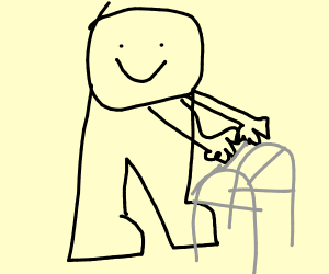 old man with a walker smiles at u
