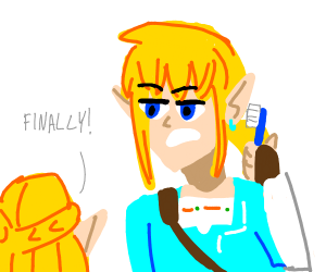 link gets his teeth brushed finally