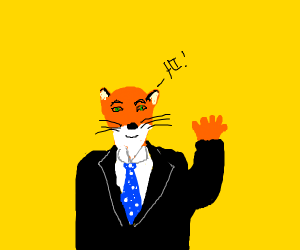 A fox in a suit waving