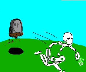 Floating grave chases dead man w/ green dots