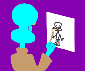 Squidward painting a picture with his ink