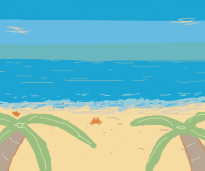 Nice beach with two palm trees