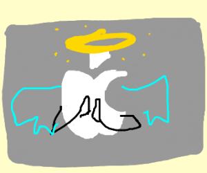 Apple logo as Angel praying