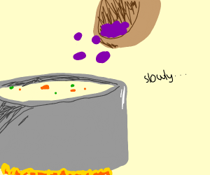 Slowly add grapes to soup