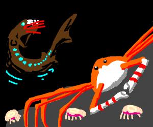 crab prepares to battle deep sea eel