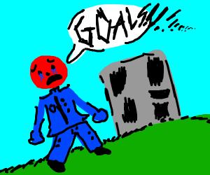 A red man in tears of seeking goals.