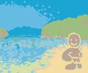 gingerbread man at the beach