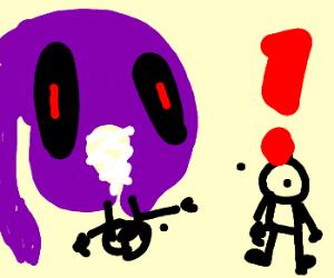 puple monster eats your friend