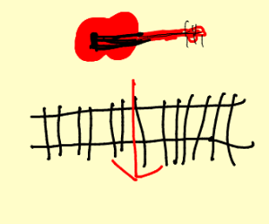 a guitar crossing the train track