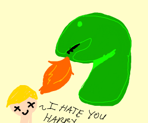 Dino breathing fire on malfoy
