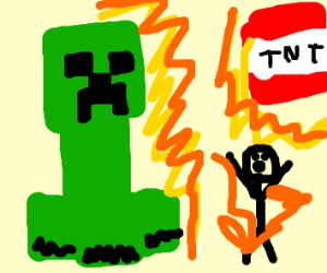 Minecraft creeper and TNT explodes stickman