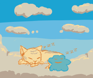 Cat and Ditto sleep on clouds.