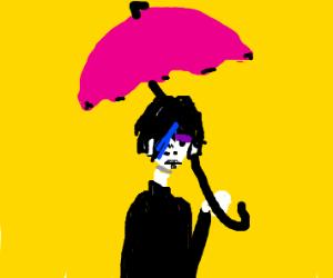 An emo girl under a pink umbrella