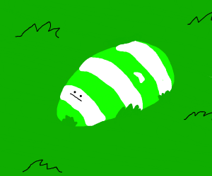 Green white and blue striped rock