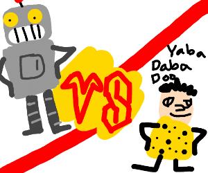 Robot vs caveman