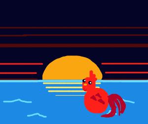 lil red chicken walks on water