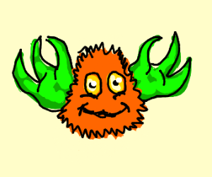 Orange fuzzball with green claws