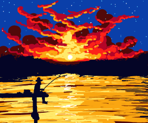 Fishing on the Pier at Sunset