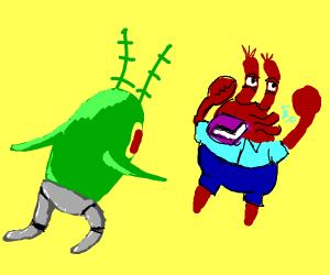 robot legged Plankton throws book at mr.Krabs