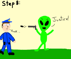 step 7: the alien steals the cop's gun